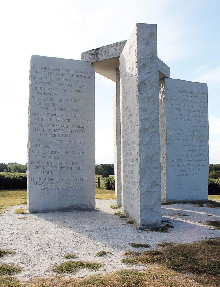 The 10 precepts to usher in an age of reason are etched into four pillars of the Georgia Guidestones. The English version, shown here, faces due north. (Photo provided)