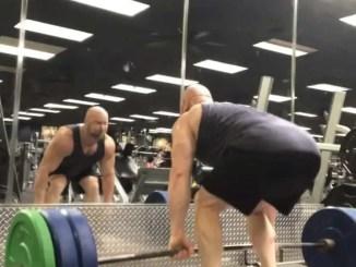 Moderate weight deadlifts