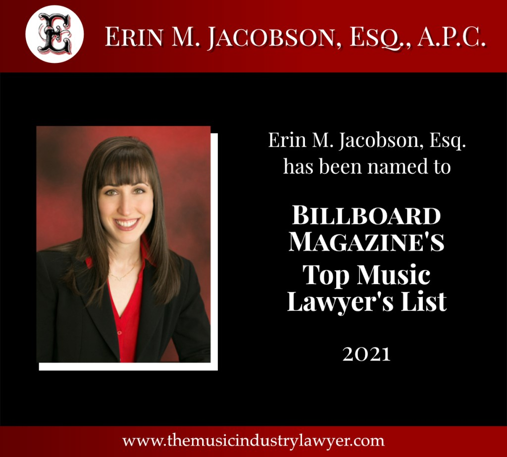 Erin M. Jacobson, Esq., Billboard Top Music Lawyers 2021