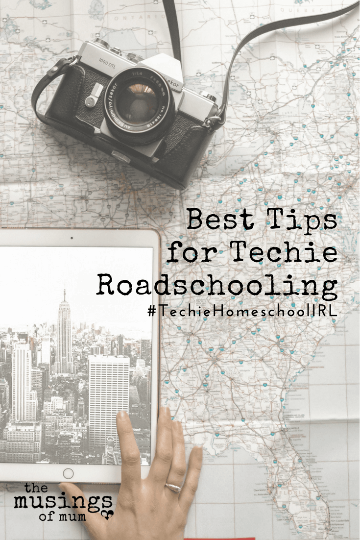 Best Tips for Techie Roadschooling - Technology has been a major player in our homeschool from the beginning, and though we are passionate about physical books and curriculum we can hold in our hands; on this particular trip, technology has replaced every bit of the traditional curriculum we use on days we school at home.
