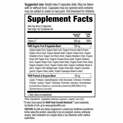 Vitamin Code Raw Vitamin C 120ct Back