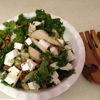 Kale, Pear and Feta Salad with Maple Glazed Walnuts