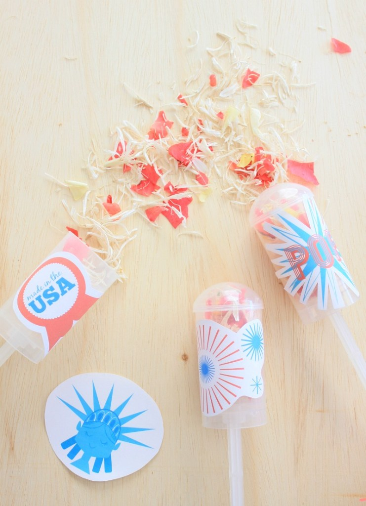 Eco-friendly push-up confetti poppers for kids - 4th of July