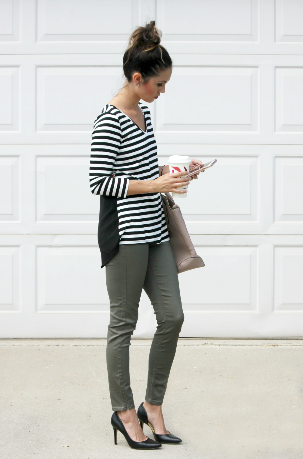 Office OOTD, work outfit ideas, olive green pants outfit, top knot, messy bun,