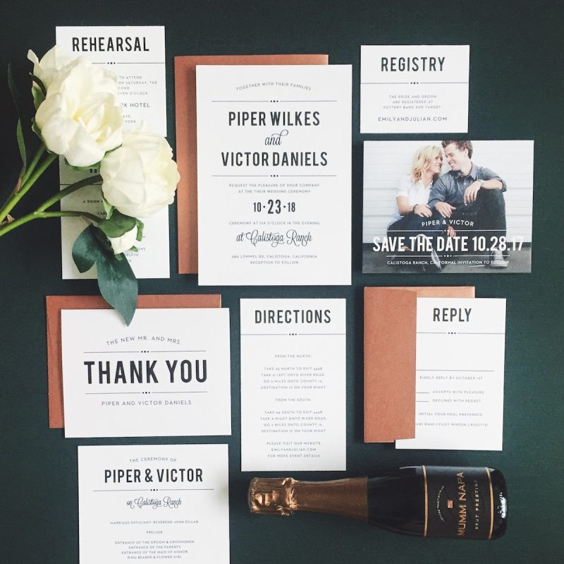 Bold, Vintage wedding invtiation