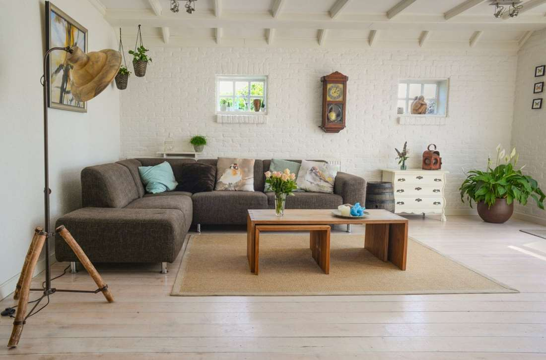 living room rug, couch, lamp