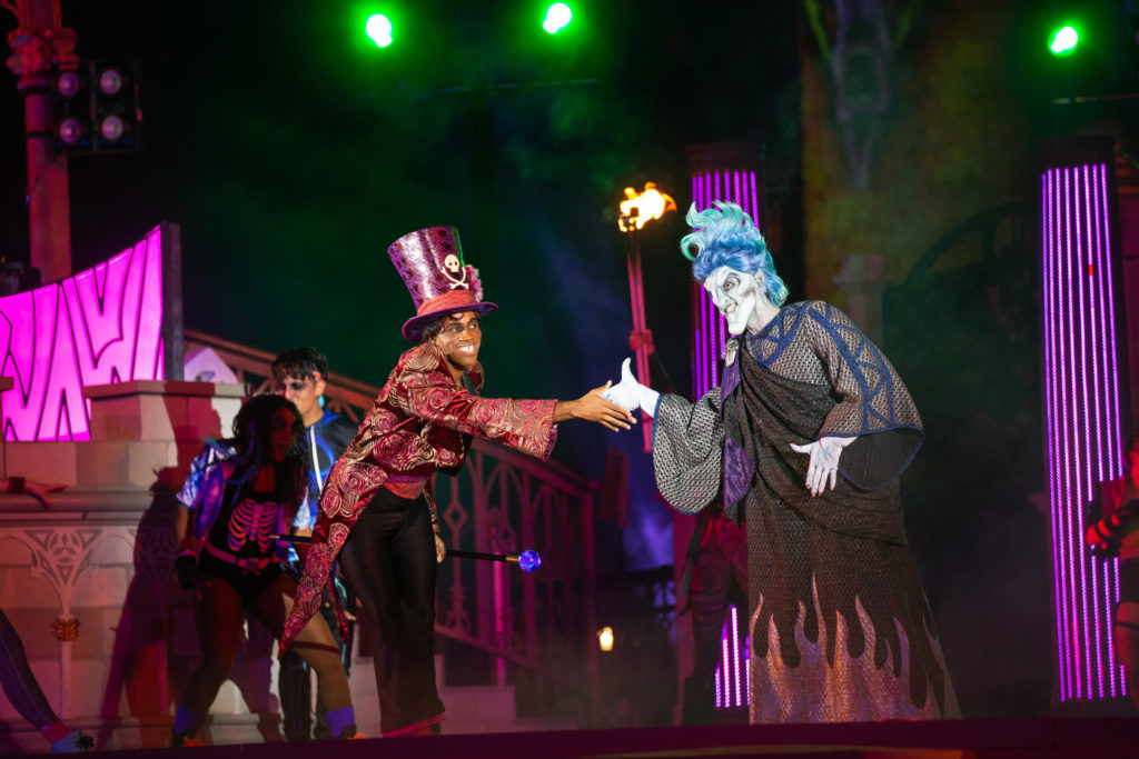 """Villains Unite the Night"" is a new stage show at Magic Kingdom Park, part of the new, limited-access Disney Villains After Hours event held on select nights this summer at Walt Disney World Resort in Lake Buena Vista, Fla. The show features appearances by Disney Villains as they set the castle stage ablaze."