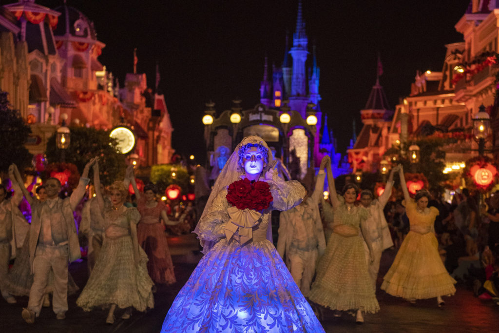 The spectral Bride from the Haunted Mansion makes her haunting debut this year in Mickey's Boo-to-You Halloween Parade at Mickey's Not-So-Scary Halloween Party. Her ghostly figure glides down Main Street among a throng of waltzing spirits during this fan-favorite parade. Mickey's Not-So-Scary Halloween Party takes place on select nights, Aug. 16-Nov. 1, 2019, at Walt Disney World Resort in Lake Buena Vista, FL.