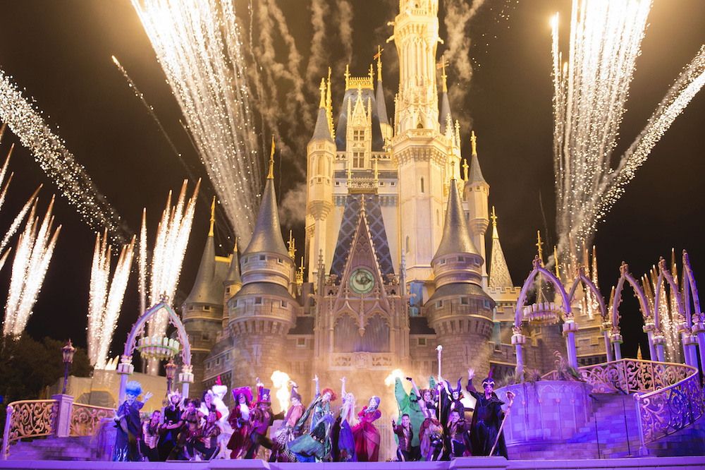 "New in 2015, the ""Hocus Pocus Villain Spelltacular,"" show during Mickey's Not-So-Scary Halloween Party at Magic Kingdom Park includes the mischievous Sanderson Sisters from Disney's Hocus Pocus, who throw an evil Halloween party that features appearances by Dr. Facilier, Oogie Boogie, Maleficent and other great Disney villains, along with dancers, projections and special effects. Walt Disney World Resort is located in Lake Buena Vista, Fla. ("