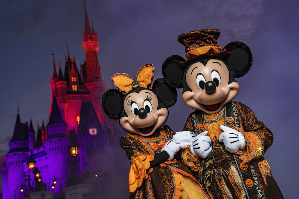 """Eerie lighting, fall décor and Mickey Mouse-shaped Jack-O-Lanterns set the stage at Magic Kingdom for Mickey's Not-So-Scary Halloween Party. The family-friendly after-hours event offers trick-or-treating, meet and greets with favorite characters in costume, plus the must-see """"Mickey's Boo-to-You Halloween Parade"""" and """"Happy HalloWishes"""" fireworks display. Mickey's Not-So-Scary Halloween Party is a special ticket event and takes place on select nights each fall at Walt Disney World Resort in Lake Buena Vista, Fla."""