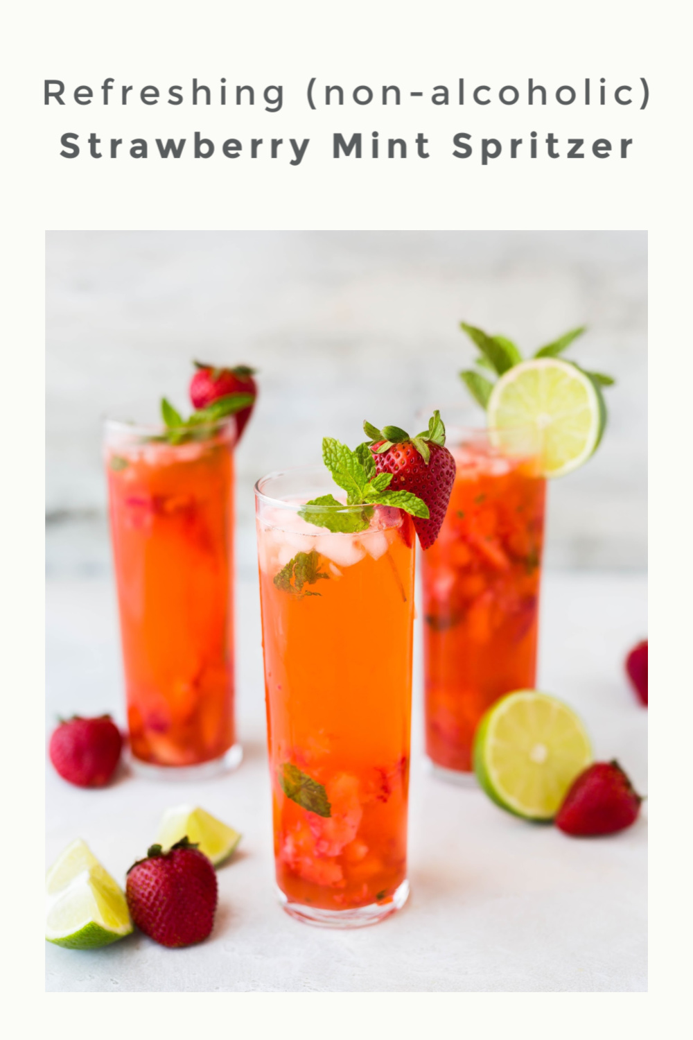 Refreshing Strawberry Mint Spritzer (non-alcoholic)