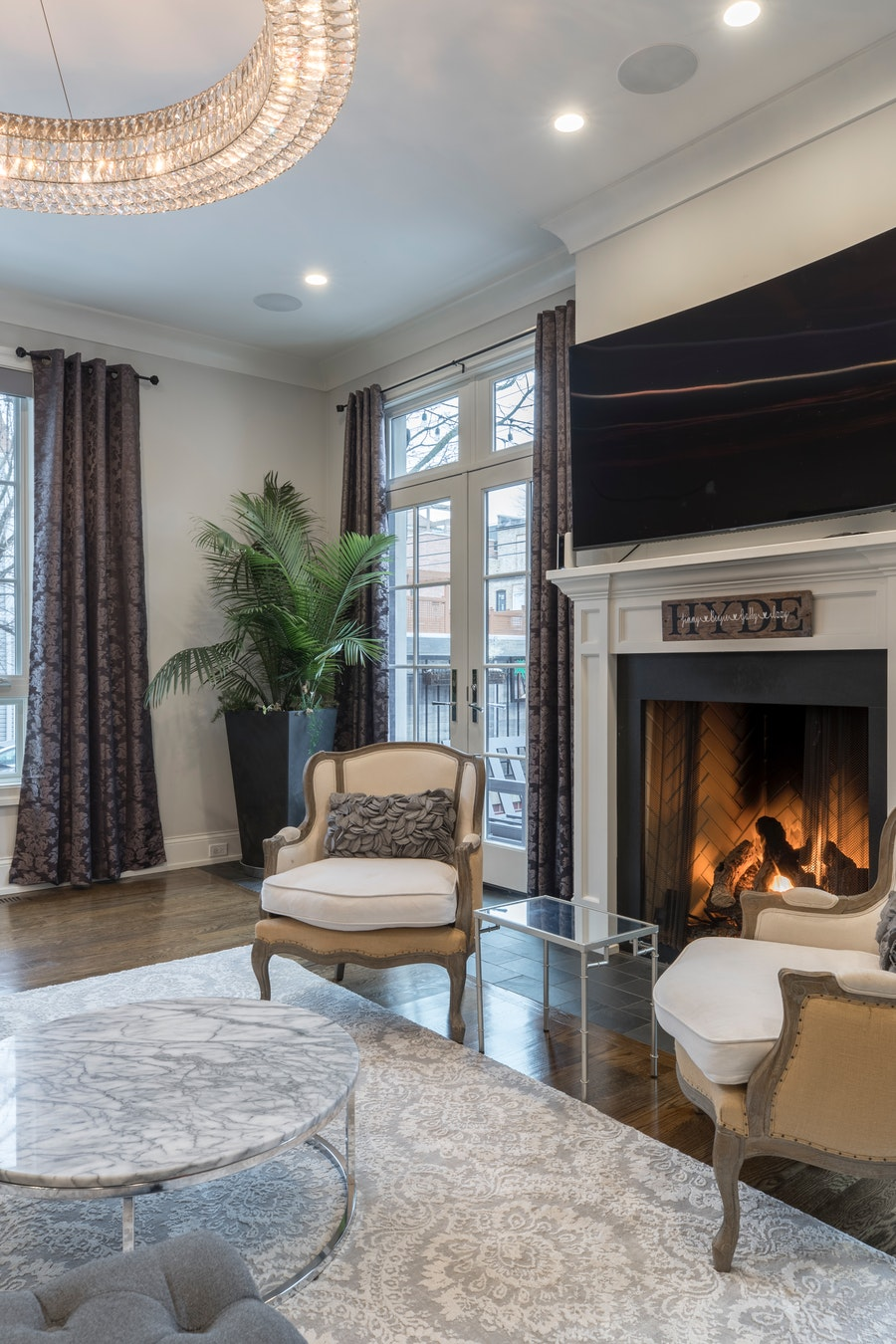 Living room design with a pretty electric fireplace