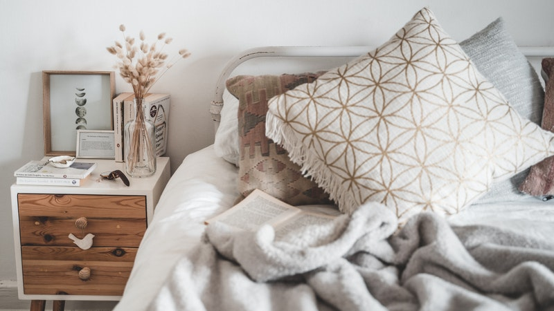 Boho bedding.  Vintage Pillows