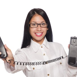 answer phone woman holds phone