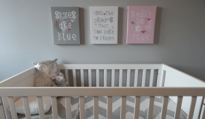 Crib, baby related decor