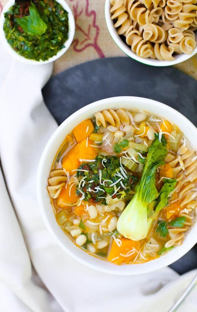 vegan gluten free soup minestrone cannelloni bean and butternut squash