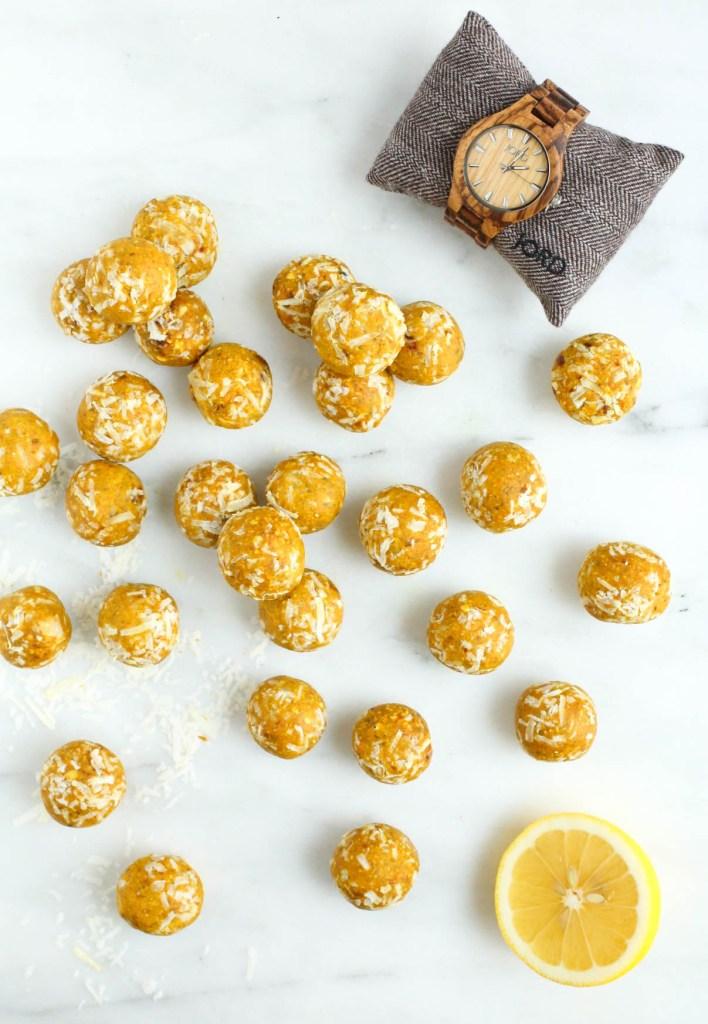 no bake, lemon, turmeric, energy balls