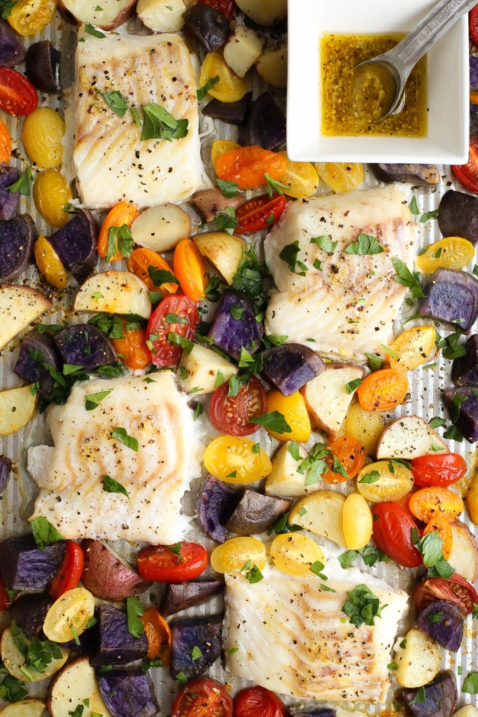 one pan, cod, baked, vegetables