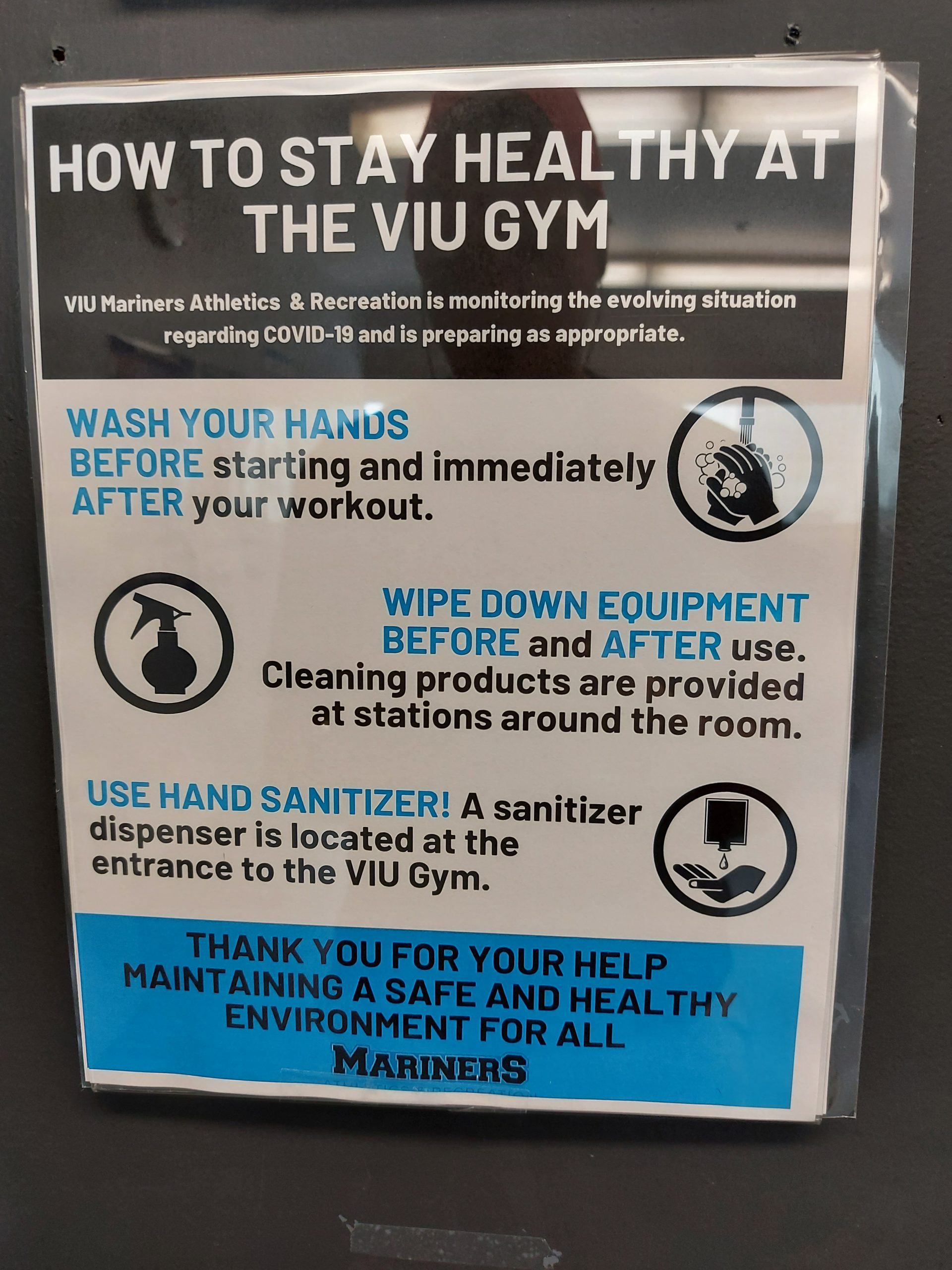 A poster of rules to follow before entering the VIU gym