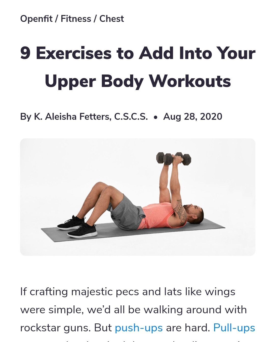 "Article with title: ""9 Exercises to Add Into Your Upper Body Workouts"