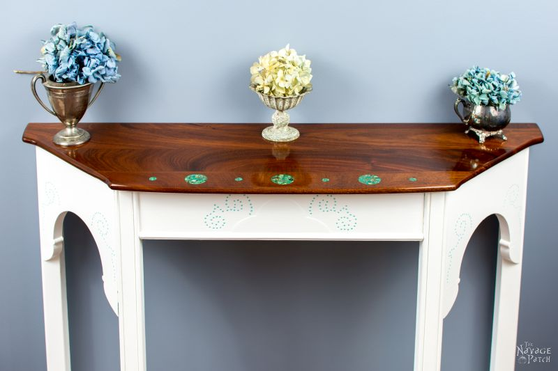 Turquoise Inlay Console – A Dining Table Upcycle | Console Table With Turquoise Inlay | Upcycled furniture | DIY stone inlay | Homemade chalk paint | How to inlay stone | #TheNavagePatch #diy #paintedfurniture #upcycled #woodworking #furnituremakeover #Turquoise | TheNavagePatch.com