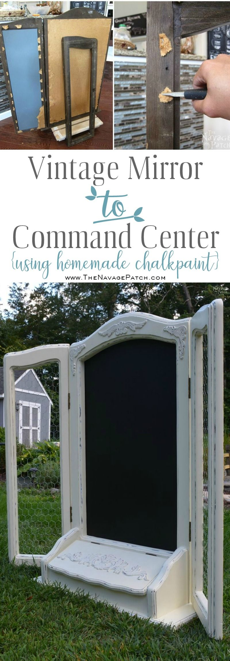 Vintage Mirror to Command Center   DIY furniture makeover  Upcycled furniture   DIY command center   Repurposed tri-fold mirror   Homemade chalk paint   Painted furniture   Farmhouse style furniture   Annie Sloan Old White color   Painted and distressed furniture makeover   Ornate furniture   Transformed furniture   Before & After   TheNavagePatch.com