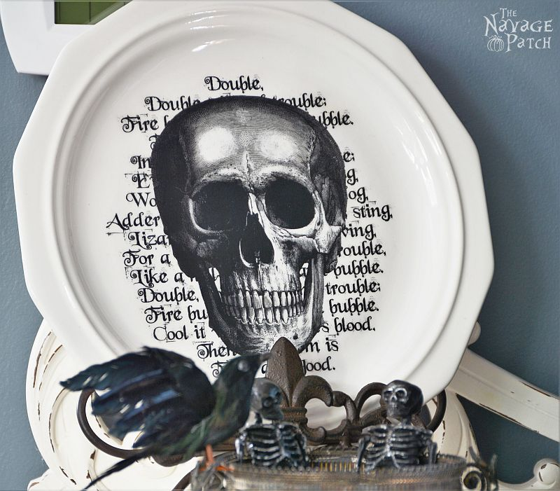 Pottery Barn Inspired Halloween Plates   DIY Halloween decoration   How to image transfer on ceramic   DIY knockoff decor   Free printables for Halloween   DIY image transfer on hard surfaces   Upcycled holiday decoration   #TheNavagePatch #upcycled #diy #Halloween #freeprintable #crafts #mypotterybarn #PBKnockoff #PotteryBarn #Modpodge #easydiy   TheNavagePatch.com