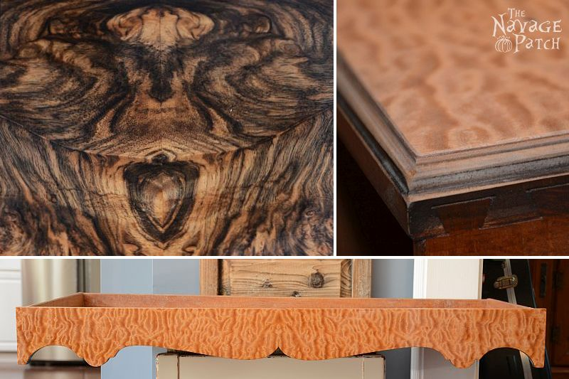 Veneer & Loathing | Antique desk makeover using exotic wood veneer and chalk paint | Diy veneer tutorial | How to apply veneer | How to replace veneer | Diy furniture makeover and woodworking | DIY Chalk Paint | Refurbished desk | Before & After | TheNavagePatch.com