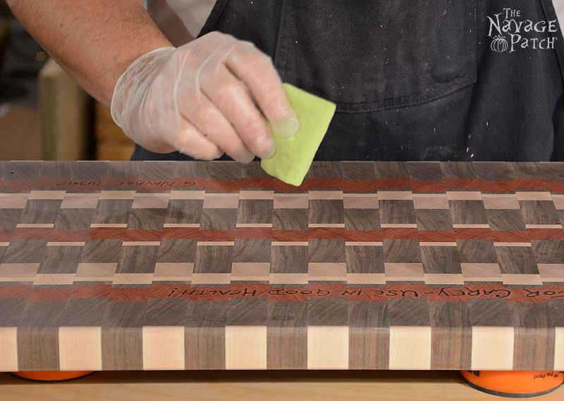 End-Grain Cutting Board Tutorial and Plans | How to make a cutting board that will last for years | Free plans for a DIY end grain cutting board | Handmade cutting board | DIY cutting board with food safe varnish | How to make an end grain cutting board | #TheNavagePatch #DIY #freeplans #Tutorial #Handmade #Endgrain #Cuttingboard #exoticwood #Woodworking | TheNavagePatch.com