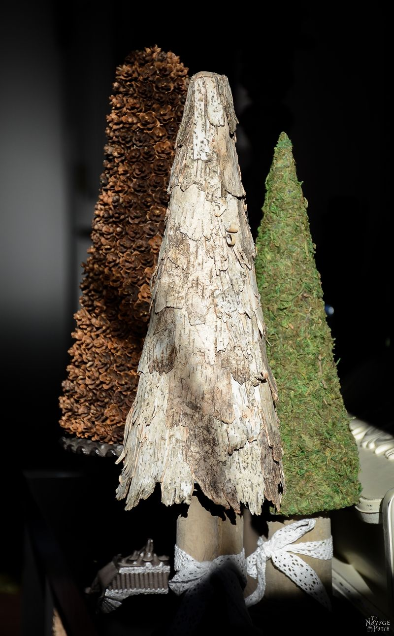 Birch Bark and Pine Cone Trees | DIY birch bark topiary | DIY pine cone topiary | How to make a pine cone topiary | Upcycled holiday decoration | #TheNavagePatch #easydiy #Christmas #Upcycled #DIY #Holidaydecor #DIYChristmas #Christmascrafts #Winterdecor #DIYHomedecor #Holidays | TheNavagePatch.com