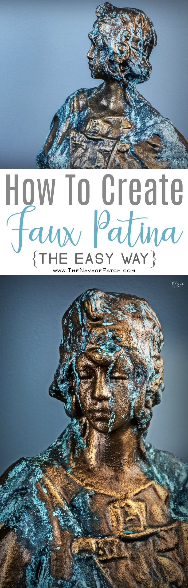 How To Create Faux Patina {Oxidized Bronze Finish Tutorial} | DIY garden decor | Bronze bust with faux patina | Updating an old ceramic bust with Modern Masters reactive paint | How to work with Modern Masters reactive paint | English gardens | Painted home decor | TheNavagePatch.com