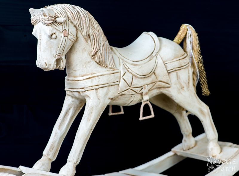 White Horse | DIY vintage horse makeover | Updating home decor with homemade chalk paint | Homemade chalk paint recipe | How to apply metallic wax | How to apply antiquing wax | Girl's bedroom decor | TheNavagePatch.com