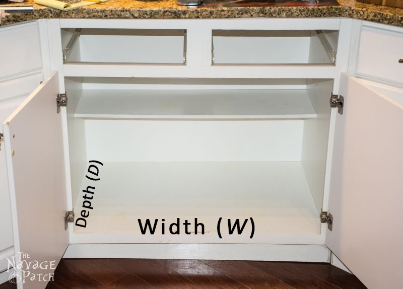 empty cabinet with dimensions