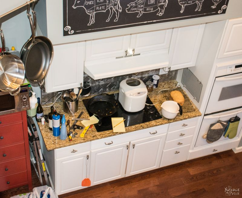 overhead shot of a messy stove