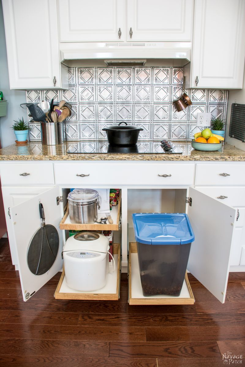 extended diy slide out shelves under the stove