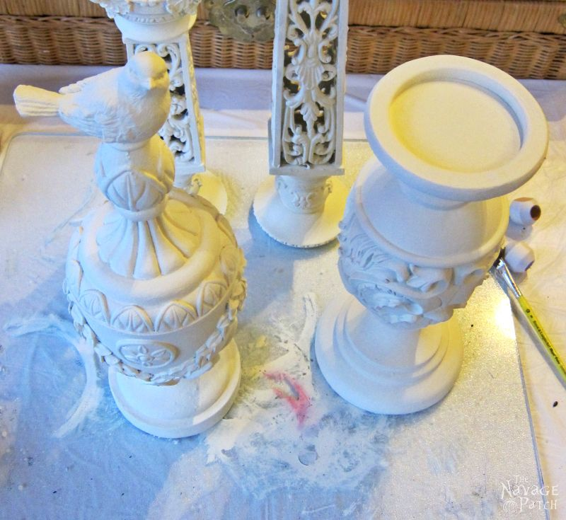 Pillar Candle Holder and Finial Update | How to fix broken resin decor | Updating home decor with homemade chalk paint | Homemade chalk paint recipe | How to use metallic wax | Painted and antiqued home decor | How to highlight relief and ornate | TheNavagePatch.com