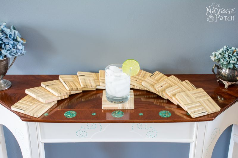 Birch Plywood Coasters Tutorial   DIY Birch Plywood Coasters   Woodworking & DIY   Free plans   Handmade plywood coasters   Wipe-on poly   How to make end-grain wooden coasters   Summer crafts   Cheap & easy DIY   #Tutorial for #Handmade #Endgrain #coasters using #plywood   #Woodworking & #DIY with #freeplans   TheNavagePatch.com