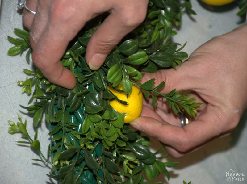 DiY Summer Lemon Wreath   Faux lemon and boxwood wreath with lemon scent   Wreath making tutorial   How to use your wreath as room freshener   How to make a room freshener with essential oils   Diy home decor   TheNavagePatch.com