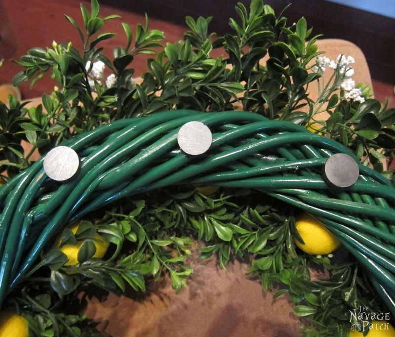 Magnets on the back of the lemon wreath