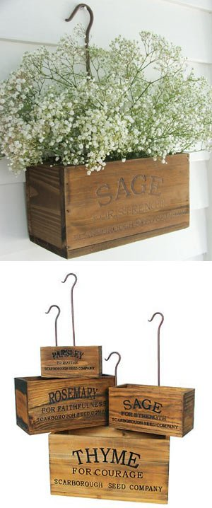 DIY nesting herb boxes | DIY wooden herb crates | Step-by-step hanging herb crate tutorial | Farmhouse style rustic decor | Free stencil | Free printable | Scarborough Fair | Scrap wood home decor | Stenciled home decor | How to stencil | Festive home decor | Cheap & easy crafts | Simple woodworking | #diy #stenciled #rustic #crates | TheNavagePatch.com