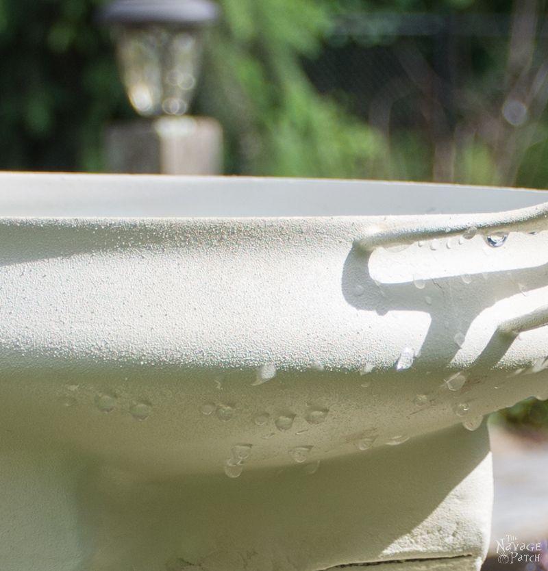 DIY Bird Bath | How to make a bird bath | How to keep your bird bath algae free | How to prevent algae growth | Simple upcycled garden and backyard decor | DIY garden and backyard decor | Homemade bird bath | #TheNavagePatch #Garden #DIY #Backyard #Upcycled #Repurposed | TheNavagePatch.com