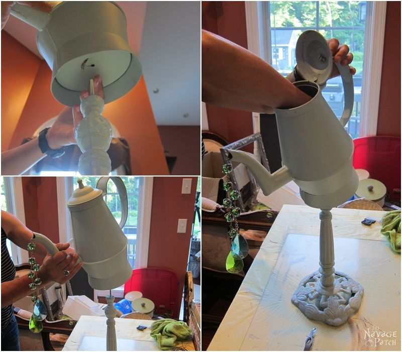 DIY Garden Decor | Upcycled & repurposed garden decor | Whimsical teapot garden decor | Upcycled bamboo plates | Dollar store crafts | Rust Oleum Robin's egg color | #TheNavagePatch #DIY #gardendecor #upcycled #repurposed #DollarStore #DollarTree #garden #Dollartreediy #rustoleum | TheNavagePatch.com