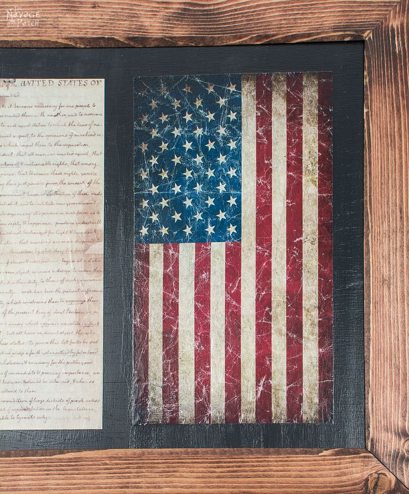 Old Glory & The Declaration of Independence: Patriotic Wall Art | Diy wall art | How to make a frame | Frame and wall art tutorial | Decopuaged wall art | July 4th crafts using mod podge | Old and new American flag | Independence day crafts |  Easy & budget crafts | How to make wrinkled decoupage | TheNavagePatch.com