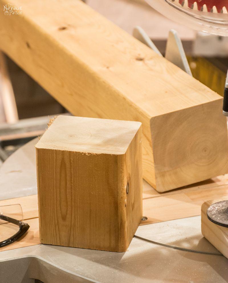 cedar cube cut from a 4 x 4