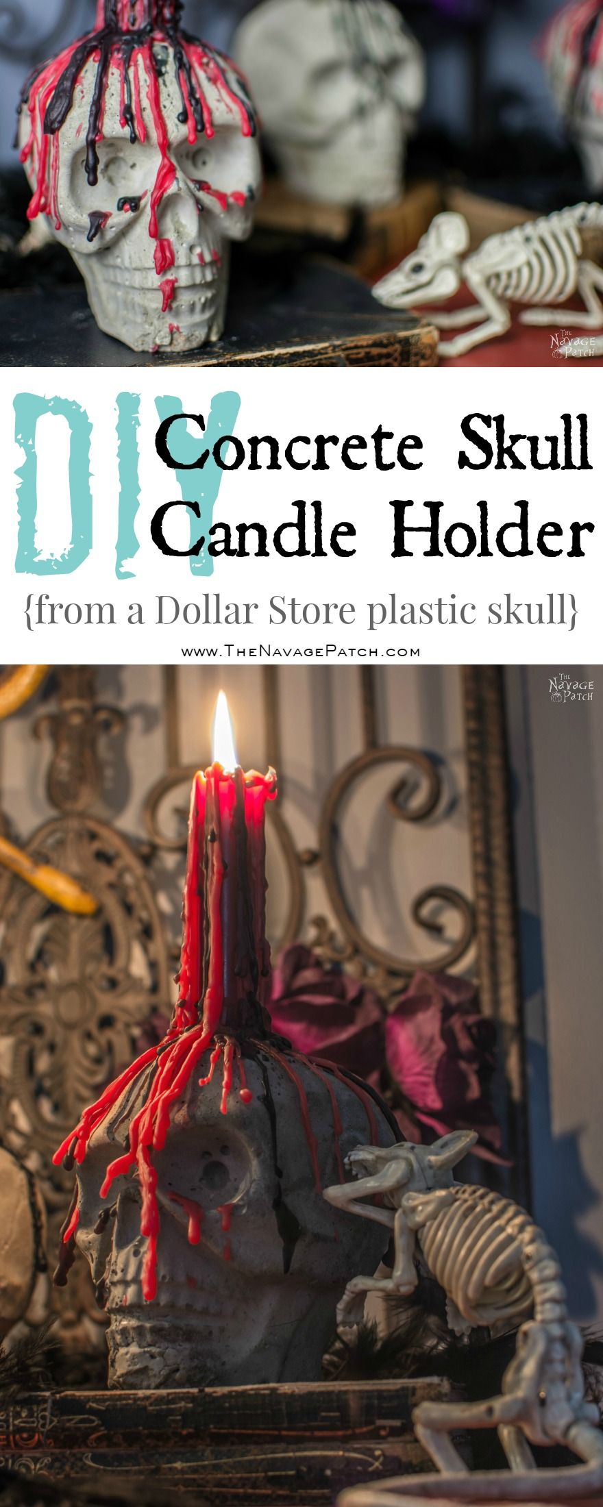 DiY Concrete Skull Candle Holder   DIY Halloween decor   How to make a concrete candle holder   Dollar store crafts   Gothic decor for Halloween   Easy & budget crafts   DIY Halloween prop   Spooky and gothic decor   Upcycled Halloween decor   TheNavagePatch.com