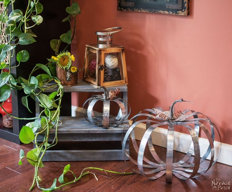 Pottery Barn Inspired Outdoor Metal Pumpkins   DIY fall decor  Pottery Barn knockoff pumpkin   DIY galvanized metal pumpkin tutorial   Fall decoration ideas   Farmhouse decor   #TheNavagePatch #PBknockoff #easydiy #Falldecorideas #pumpkin #falldecor #diy #diypumpkin #thanksgiving #PotteryBarn #MyPotteryBarn #fall #pumpkineverything   TheNavagePatch.com