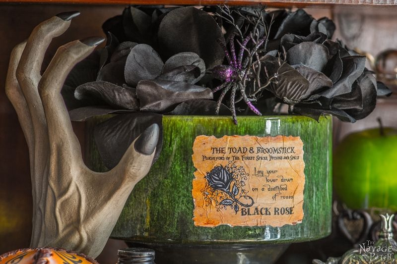 Apothecary Jars {and Free Printable Labels} | DIY Halloween decor | Harry Potter theme | Free Halloween printable with over 80 jar labels | Potions and spells | DIY Apothecary jars decor | DIY Halloween prop | Spooky and fun witches kitchen | Grimm - Rosalee's spice shop | TheNavagePatch.com
