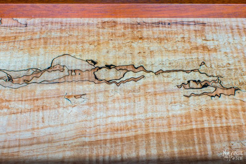 Spalted Maple and Mahogany Tea Tray   Woodworking & diy   How to make an elegant wooden tray   Handmade Victorian style wooden tray   Antique nickel metal onlay   #Woodworking & #diy   TheNavagePatch.com
