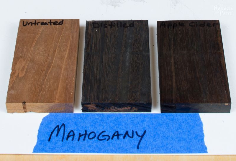 Aging Wood with Vinegar and Steel Wool   DIY wood aging techniques for several wood types   DIY wood aging solution recipe   How to faux age a wood in minutes   DIY black wash recipe   Woodworking   TheNavagePatch.com