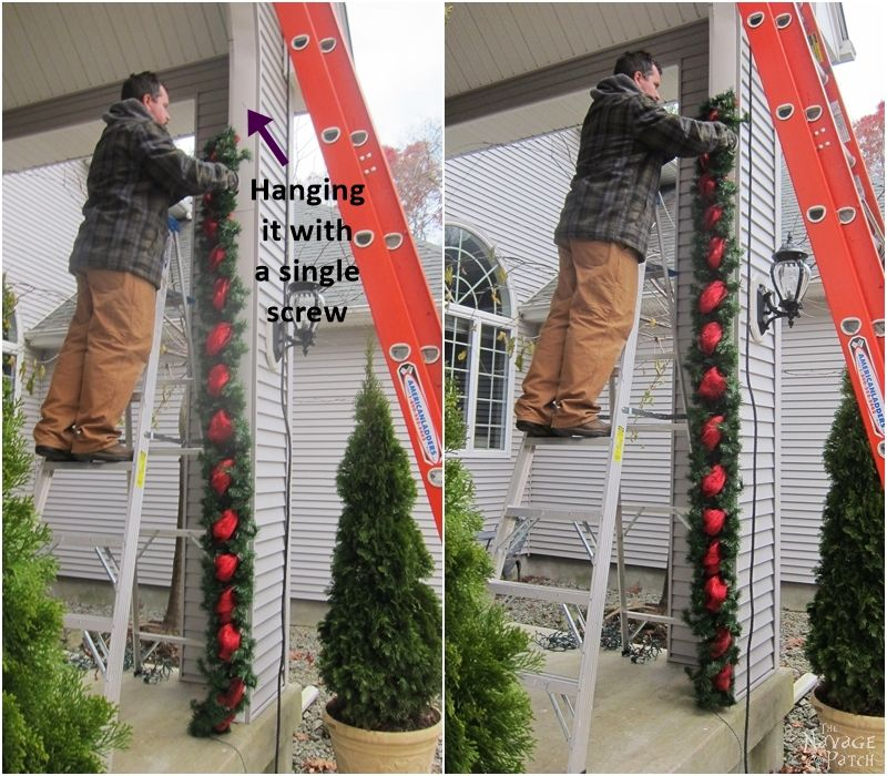man hanging diy outdoor christmas garland